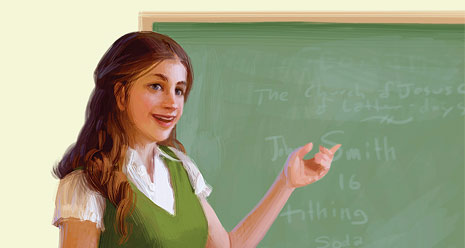 young woman in front of chalkboard