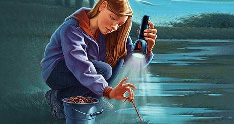 young woman pulling worm from ground