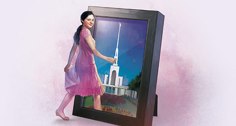 girl walking into framed picture of temple