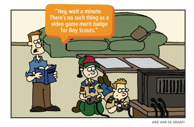 Boy Scouts playing video games