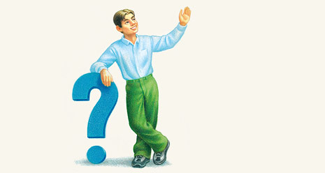 illustration of young man leaning on big question mark