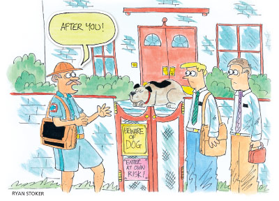 "postal carrier and two missionaries by gate with ""Beware of Dog"" sign"