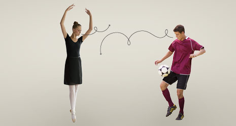 ballerina and soccer player