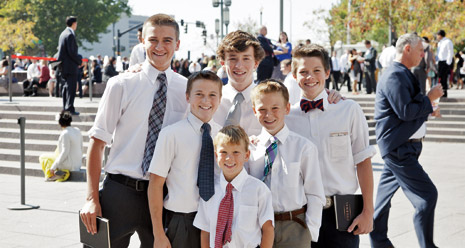 group of boys at conference