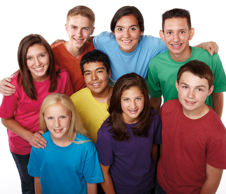 youth in colored shirts