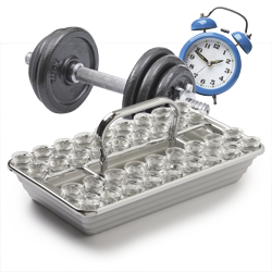 weights, clock, and sacrament tray