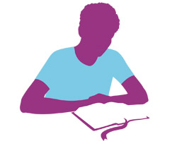 graphic of young man studying