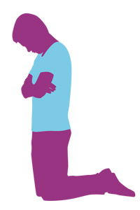 graphic of young man praying