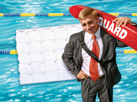 lifeguard wearing a suit