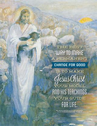 Christ carrying black sheep