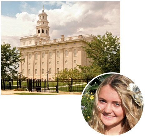 girl and Nauvoo Illinois Temple