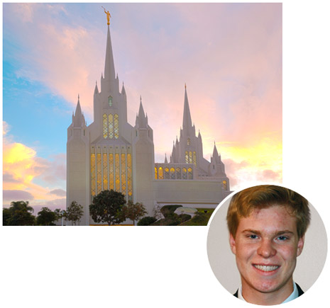 boy and San Diego California Temple
