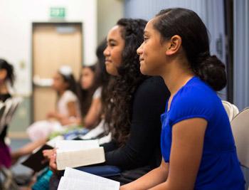 young women in class