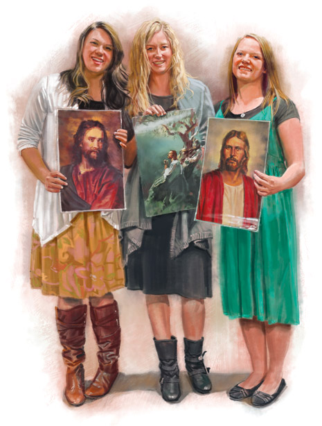 young women holding pictures of Christ