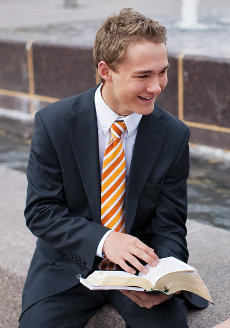 young man with scriptures
