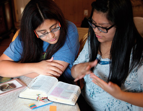 young women with scriptures