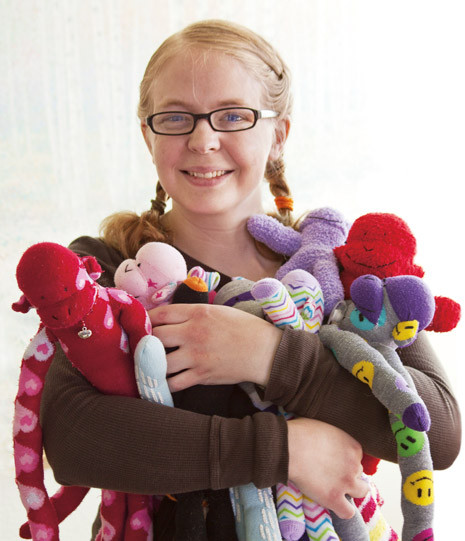 young woman with sock monkeys