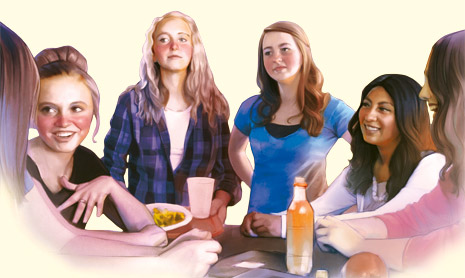 young women eating lunch