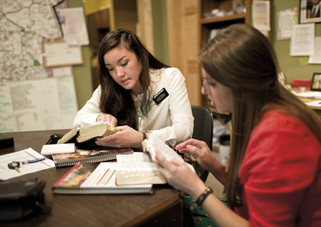sister missionaries studying
