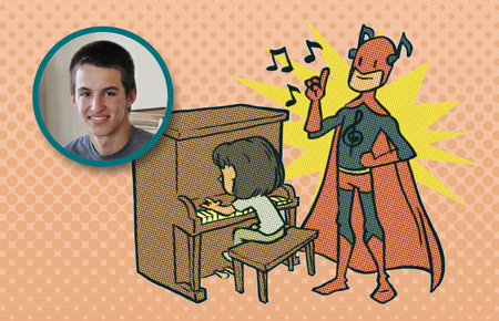 super hero teaching piano