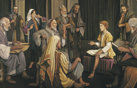 Jesus as a boy in the temple