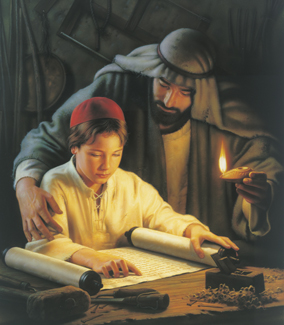 Jesus Christ as a boy studying