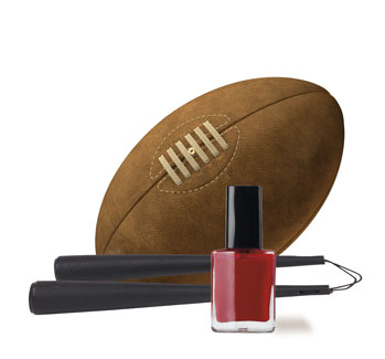 football, nunchakus, fingernail polish