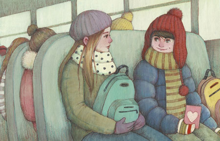 boy and girl on bus