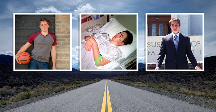 photos of young man with mountain road backdrop