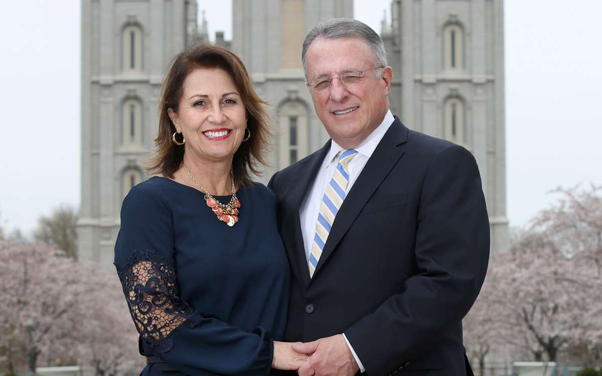 Elder and Sister Soares in front of the Salt Lake City Temple
