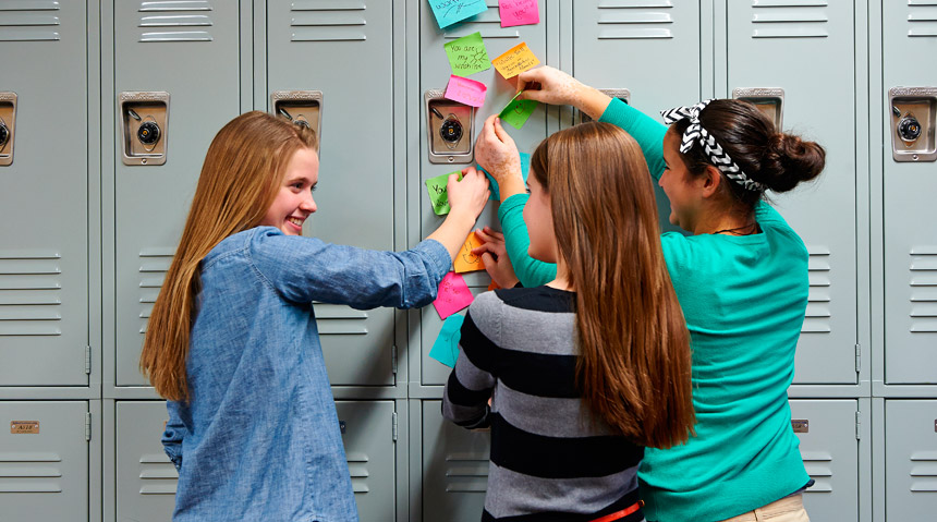 Young women at locker