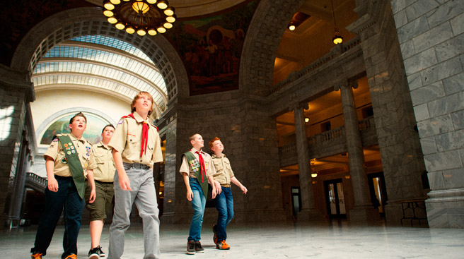Scouts with merit badges