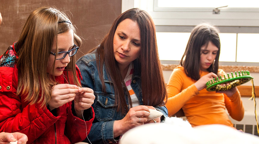Young women doing crafts